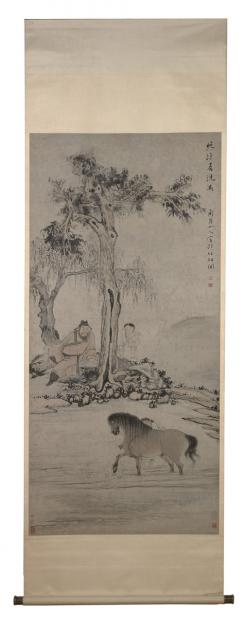 Hua Yan, Watching the Bathing of a Horse in the Evening Cool