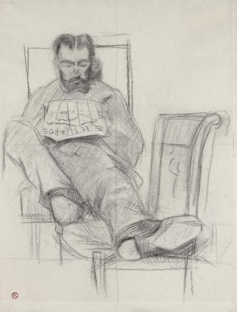 Toulouse-Lautrec, Henri de; Charles de Toulouse-Lautrec reading 'Le Figaro'