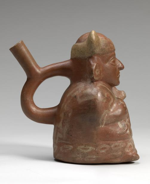 Moche, Stirrup-spouted vessel in form of a figure holding a feline