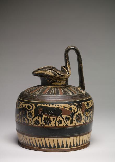 Greek, Trefoil-lipped oinochoe with animals