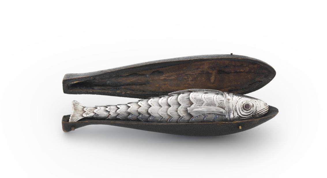 British, Vinaigrette in the form of a fish with case