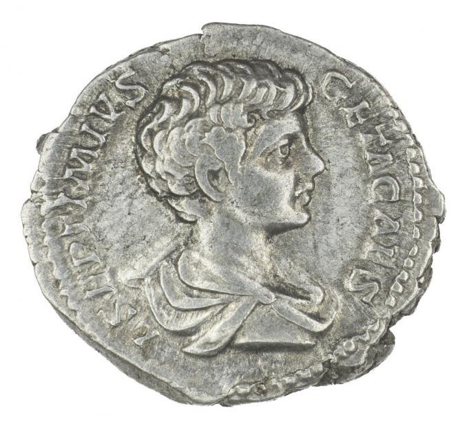 Roman, Denarius of Geta, recto
