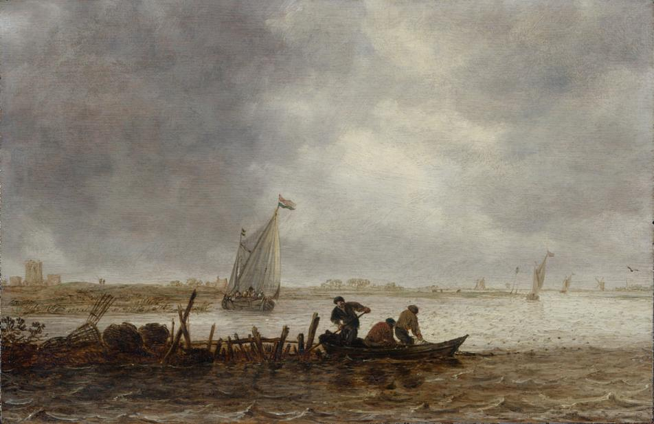 Jan van Goyen, A View of an Estuary with a Fishing Boat