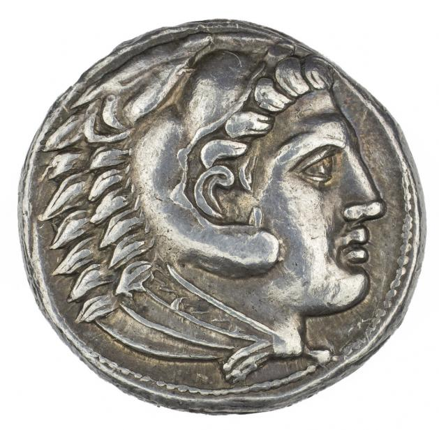 Greek, Drachm of Alexander III, the Great, as Herakles, recto
