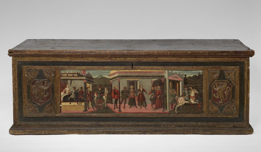 Italian, Cassone (wedding chest) with painted panel showing the Death of Lucretia