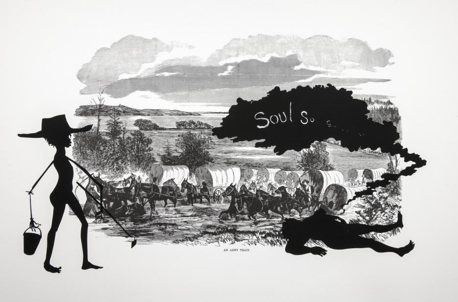 Kara Walker (American, b. 1969), An Army Train, from the series Harper's Pictorial History of the Civil War (Annotated), 2005