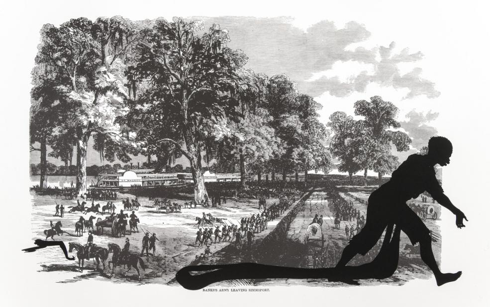 Kara Walker (American, b. 1969), Banks's Army Leaving Simmsport, from the series Harper's Pictorial History of the Civil War (Annotated), 2005