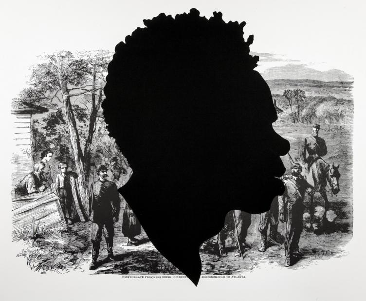 Kara Walker (American, b. 1969), Confederate Prisoners Being Conducted from Jonesborough to Atlanta, from the series Harper's Pictorial History of the Civil War (Annotated), 2005