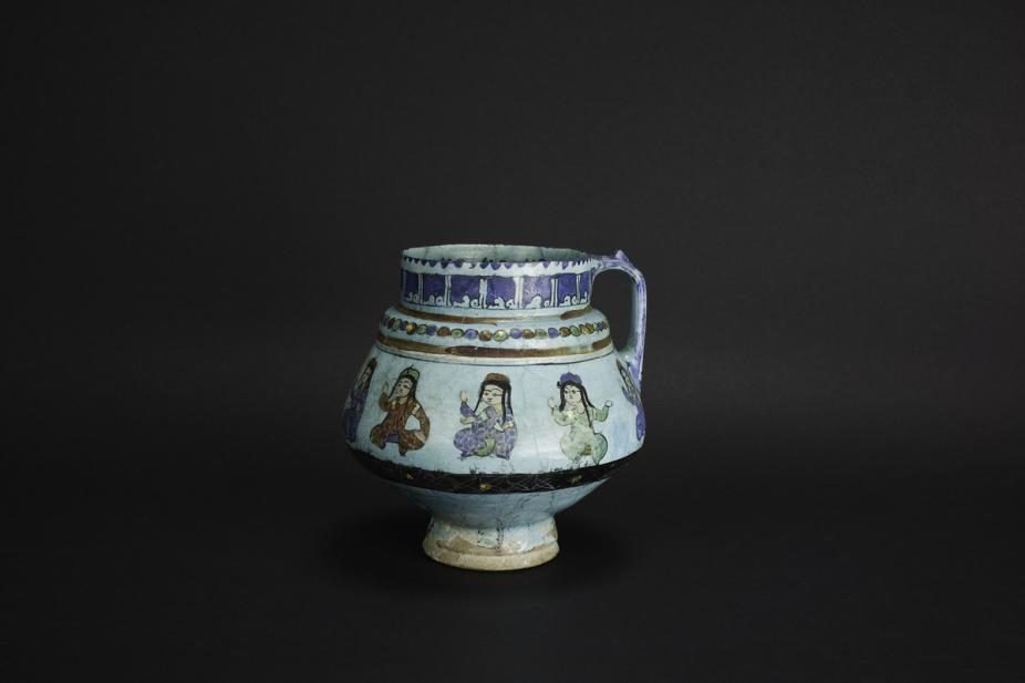 Persian, Handled jug with princely figures