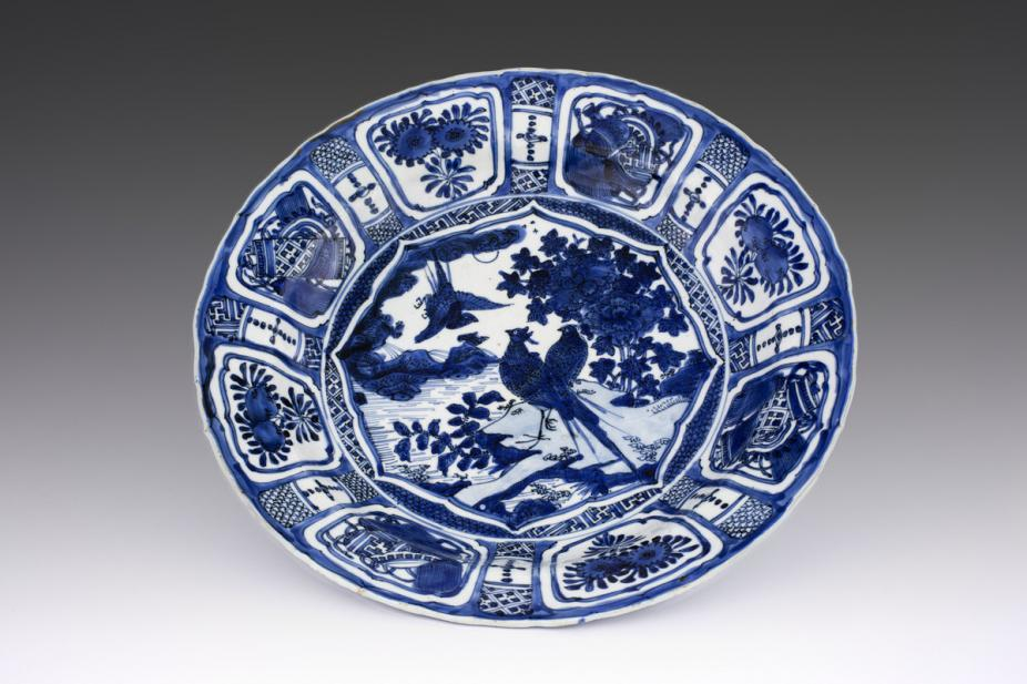 Maker Unknown (Chinese), Dish with birds and flowering peony