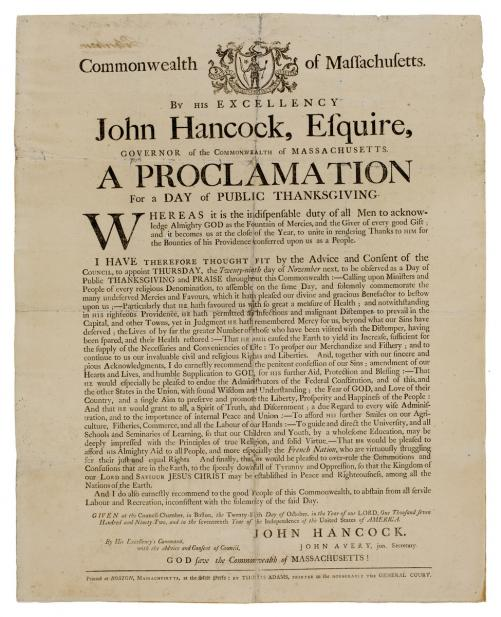 Adams, Thomas, A Proclamation for a Day of Public Thanksgiving; Broadside