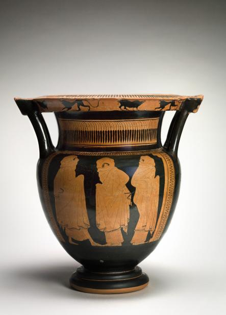 Eupolis Painter (Greek, ca. 450-440 BCE), Column krater with veiled dancers