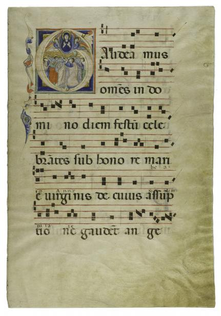 Unknown (Italian), Folios XLV and XLVI of Liturgical Book with Illuminated Initial: Assumption of the Virgin, 13th-14th century
