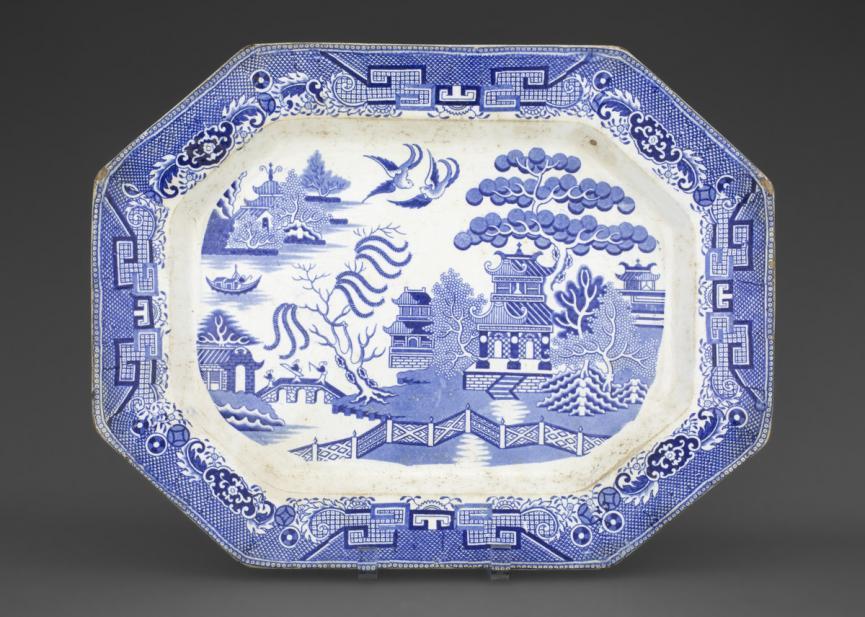 Unknown (English; British), willow pattern platter, ca. 1820