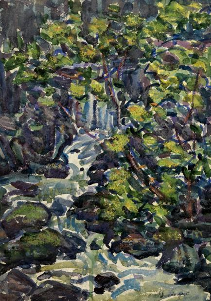 Maurice Prendergast (American, 1858-1924), The Waterfall, 1920-23