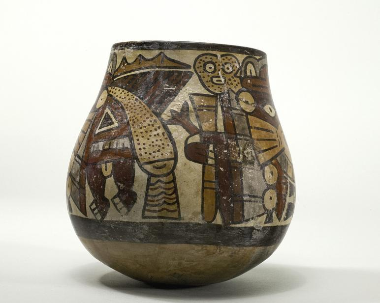 Maker Unknown (Peruvian; Nasca), Vessel with anthropomorphic being, 325-440 CE