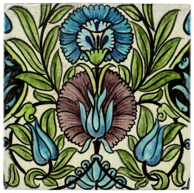 William De Morgan (British; English, 1839-1917), Iznik-inspired tile, 1882-1888 design; 1898 production