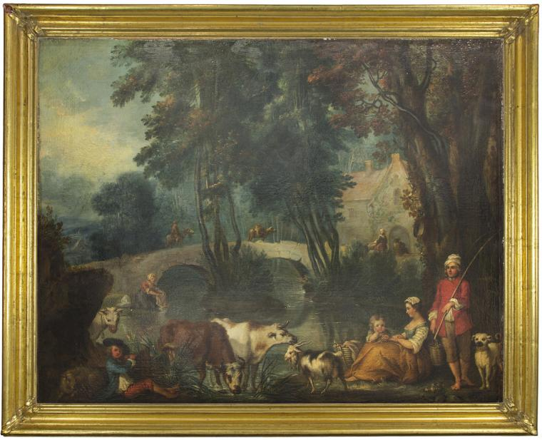 Attributed to Jean-Baptiste Benard, River Landscape with Figures and Beasts