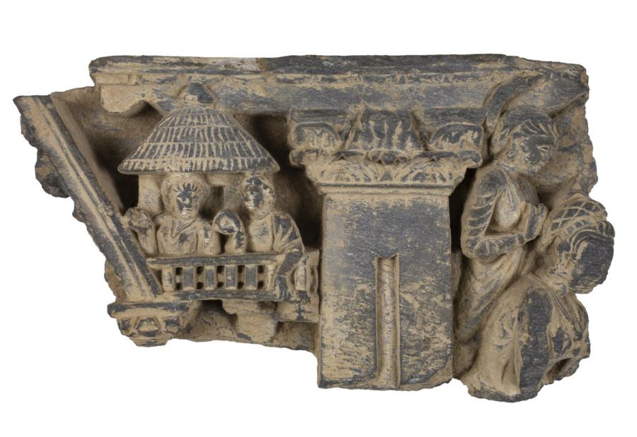 Unknown (Gandharan), [Figures with architecture], ca. 1st century BCE - 7th century CE