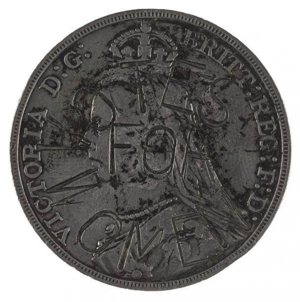 Minted under Victoria I (British), Crown with Suffragette countermark minted under Victoria I, 1892; ca. 1905