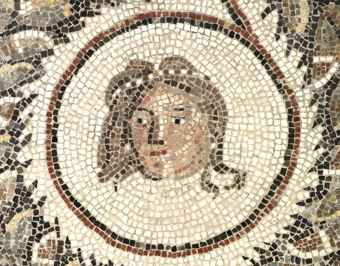 Roman, Floor mosaic with a head encircled by a garland
