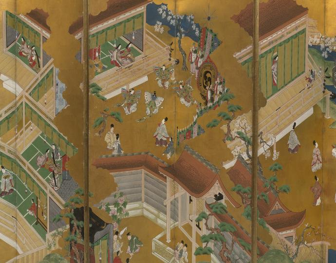 Kano, Masamitsu, Six-fold screen with scenes from Tale of Genji