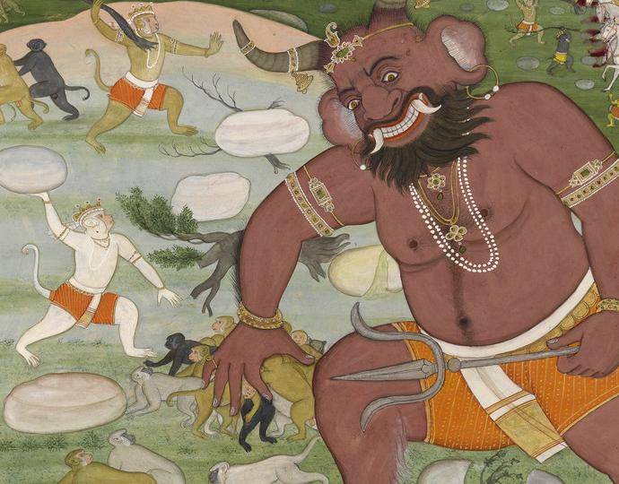 Indian, Battle between Hanuman and Kumbhakarna, from the Ramayana