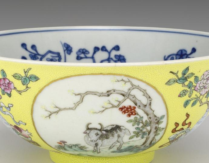 "Chinese, Yellow-ground bowl with motifs of ""Wishes for Prosperity in the Spring"""