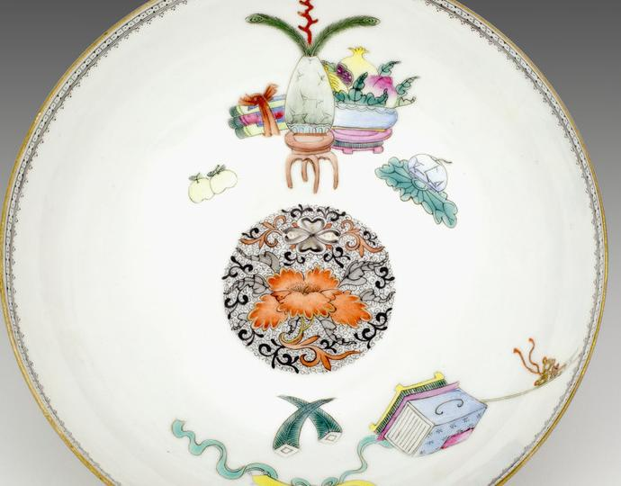 Chinese, one of a Pair of eggshell porcelain bowls