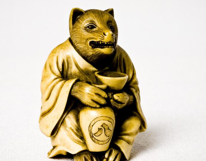 Japanese, Badger with saké cup and jar