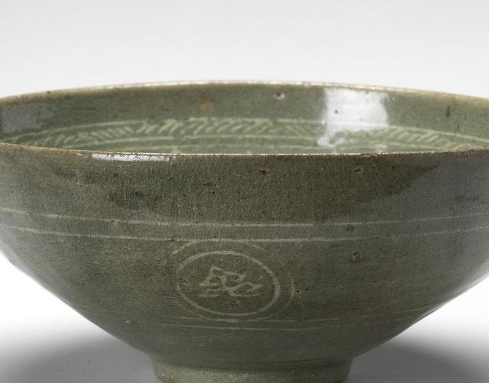 Korean, Bowl with stylized birds and clouds