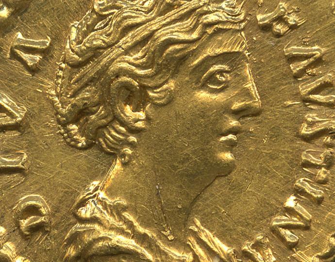 Antoninus Pius (minted under), Aureus of Faustina the Elder, obv.