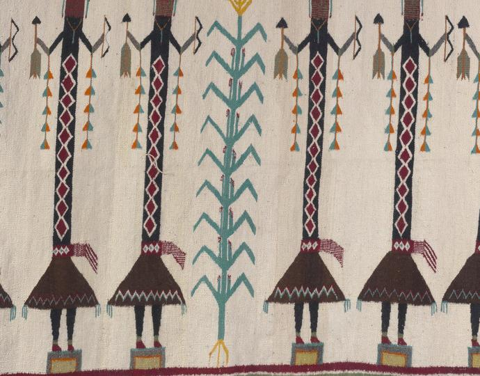 Diné (Navajo), Rug with yeti figures
