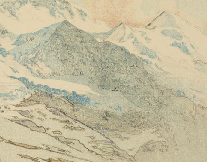 Yoshida Hiroshi (Japanese, 1876-1950), Yungufurau Yama (Mount Jungfrau), from the series Ōshū (Europe), 1925