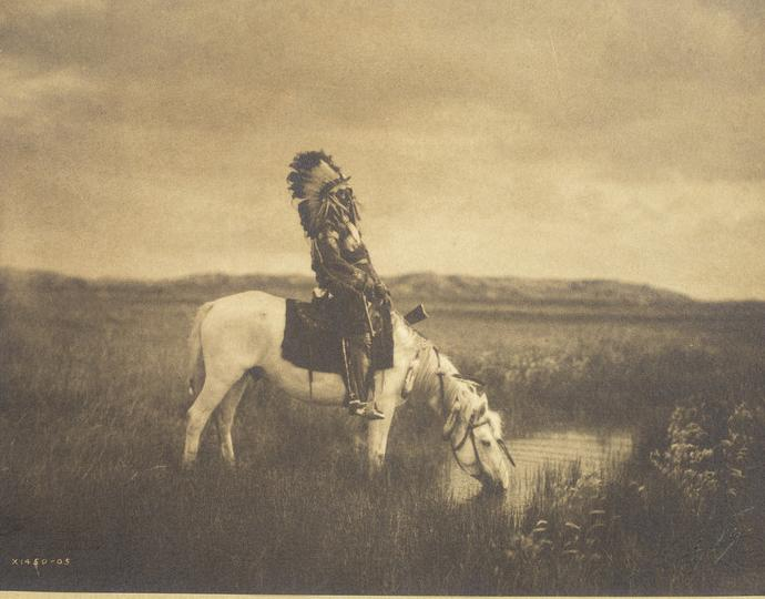 Edward Sheriff Curtis (American, 1868-1952), Sioux sub chief Red Hawk - Oasis in the Badlands, South Dakota, 1904