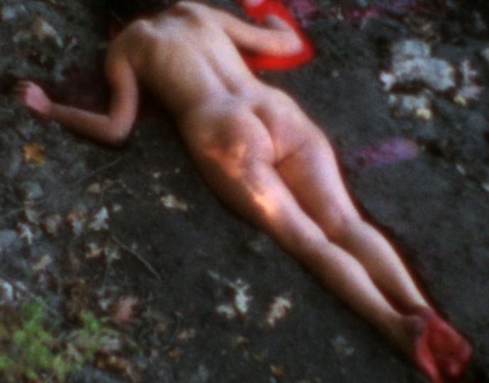 Ana Mendieta (Cuban, 1948-1985), Silueta Sangrienta, 1975 (film still)